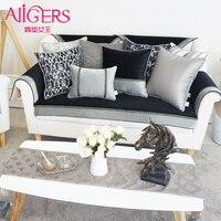 Avigers Luxury European Cushion Cover Velvet Black Pillow Cover Jacquard Flower Pillow Case Home Decorative Office Throw Pillow