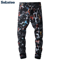 Sokotoo Men's fashion slim fit black 3D printed jeans Casual colored painted pants