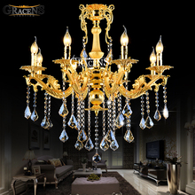 Gold Crystal Chandelier Lighting Fixture 8 Arms Classic Metal Lustre Hanging Lamp for Foyer MD8676 L8