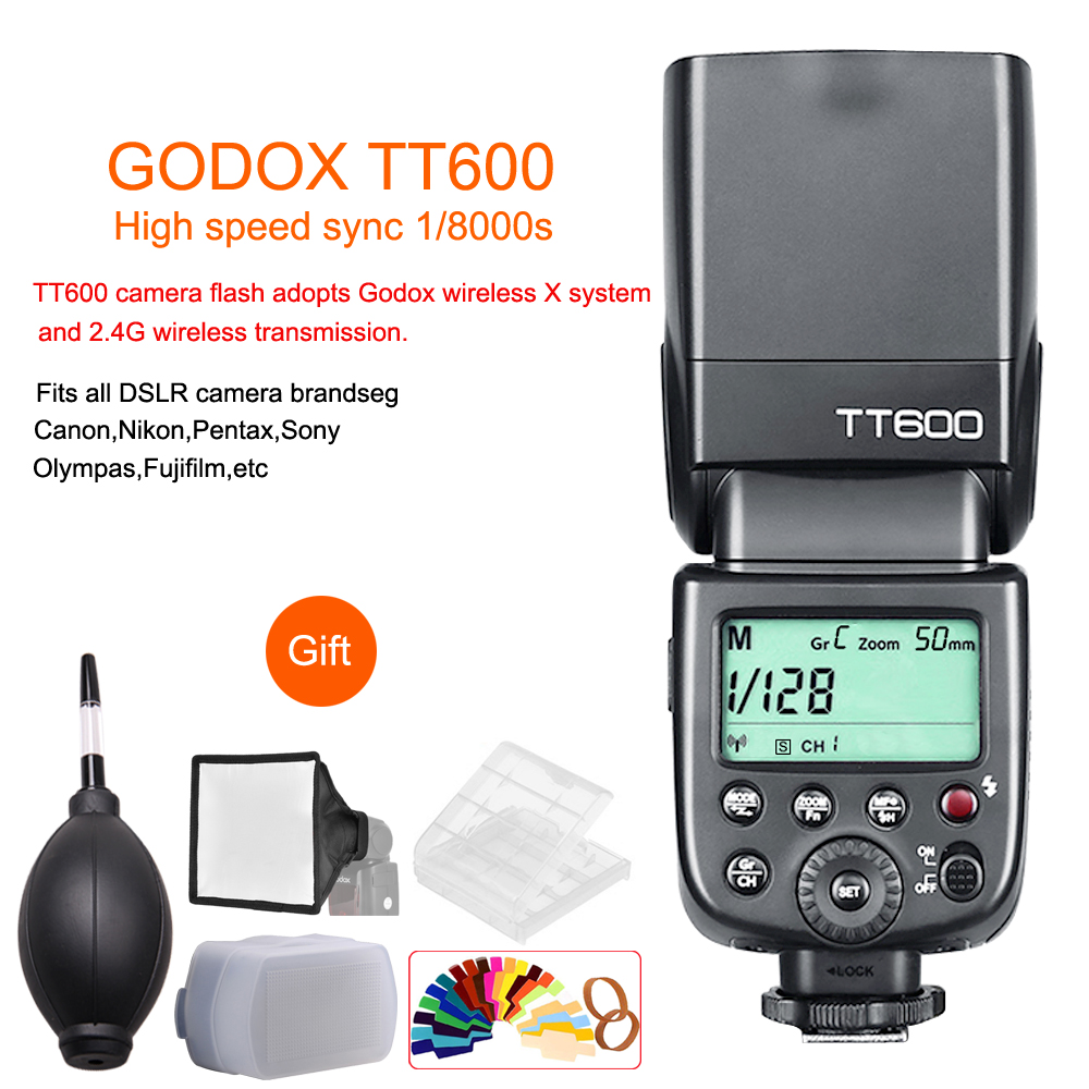 Godox TT600 2.4G Wireless GN60 Master/Slave Camera Flash Speedlite for Canon Nikon Sony Pentax Olympus Fujifilm Samsung Sigma цена