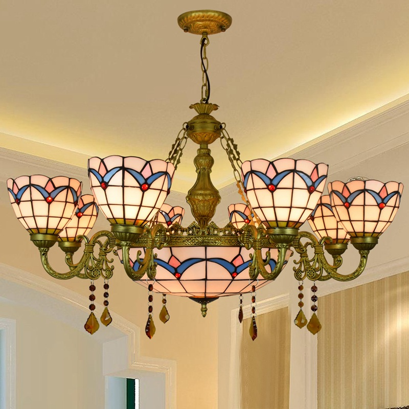 American style simple Mediterranean coloured glass living room dining room multi crystal pendant lamp 110-240V Bar Pendant LightAmerican style simple Mediterranean coloured glass living room dining room multi crystal pendant lamp 110-240V Bar Pendant Light
