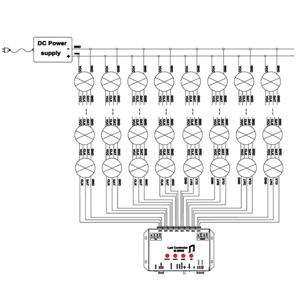 WS2812 Controller Led Muziek Controller M 8000 Prograble 8096 Pixel RGB Controller voor WS2812B WS2801 SK6812 Led Strip Module JQ - 6