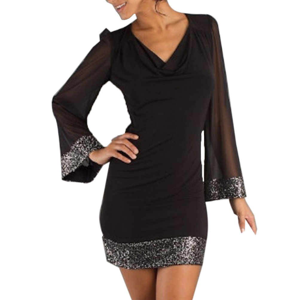 bff1a561e4 Summer Women Fashion Sequined Black Mini Dress Elegant Ladies Spring Long  Sleeve Sexy Slim Package Hip