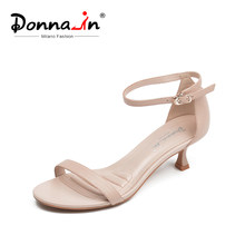 Donna-in Real Leather Medium Heels Sandals Women Summer Shoes Open Toe Comfortable Elegant Band Buckle Sandals Nude Black White(China)