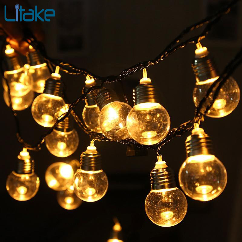 Litake 6M 20 Led Ball String Lights Clear Globe Bulbs Fairy Garland Lamp Garden Party Wedding Birthday Decoration Lights String 40 led grinding white ball christmastree string lights decorated colored lamp