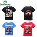 Camisa dinossauro T para Meninos Adolescente Mundo Jurássico Parque Adolescente Roupas de Verão Dos Desenhos Animados T-shirt de Manga Curta T-shirt Moda Infantil Traje