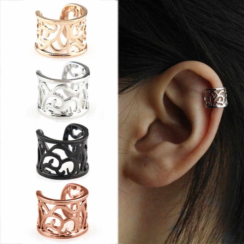 1pc Vintage Antique Ear Cuff Punk Small Flower Hollow Charm Clip Earrings No piercing-Clip Hollow Out Statement jewelry