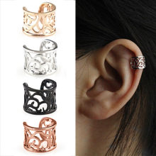 1pc Vintage Antique Ear Cuff Punk Small Flower Hollow Charm Clip Earrings No piercing-Clip Hollow Out Statement jewelry(China)