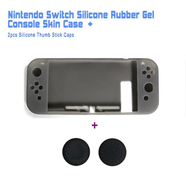 Protective Silicone Rubber Gel Console Skin Shell Case Cover + 2pcs of Gel Thumb Stick Caps for Nintendo Switch, 2in1 Kit