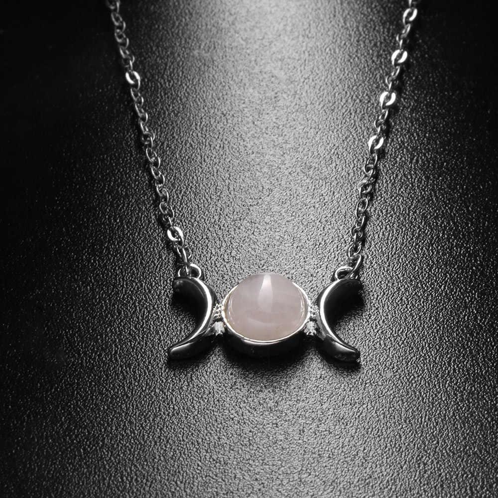 1PC breloque chaude femmes cristal lune & soleil pendentif collier chaîne en argent pierre naturelle opale collier Choker dame bijoux cadeau