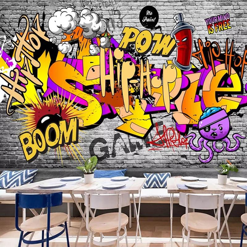 Photo Wallpaper 3D Street Graffiti Mural KTV Bar Background Wall Painting Restaurant Modern Creative Wall Papers For Walls 3 D