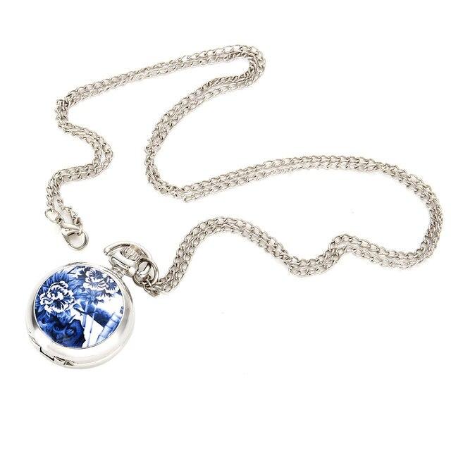 Vintage Women Quartz Pocket Watch Alloy Openable Blue Flowers Pattern Lady Sweat