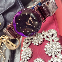 Noble Purple Stainless Steel Watches Women Luxury Brand Sparkly Crystals Watch Anti Fade Dress Wrist watch Faceted Plum Flower