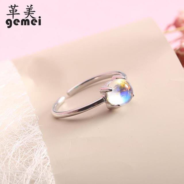 Gemei 100% 925 Sterling Silver Simple Natural Stone Moonstone Open Rings For Women Fashion Party Jewelry