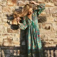 Boho Inspired Autumn Dress Bohemian Floral Print Long Sleeve Tassel Maxi Dresses V Neck Loose Dress