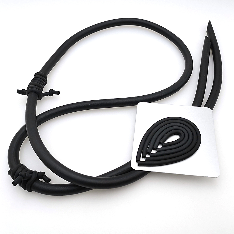YD YDBZ 2019 New Long Rubber Necklaces Germany Style Women Punk Choker Handmade Neck Jewellery Black Pendant Necklace Party Gift