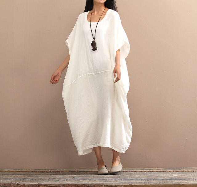 Women Retro Loose Cotton Linen Dress Ladies Solid Color