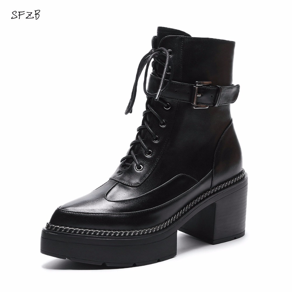 SFZB fashion autumn winter new arrive women boots round toe cow suede boots black square heel black brown ankle boots mulinsen new arrive 2017 autumn winter men