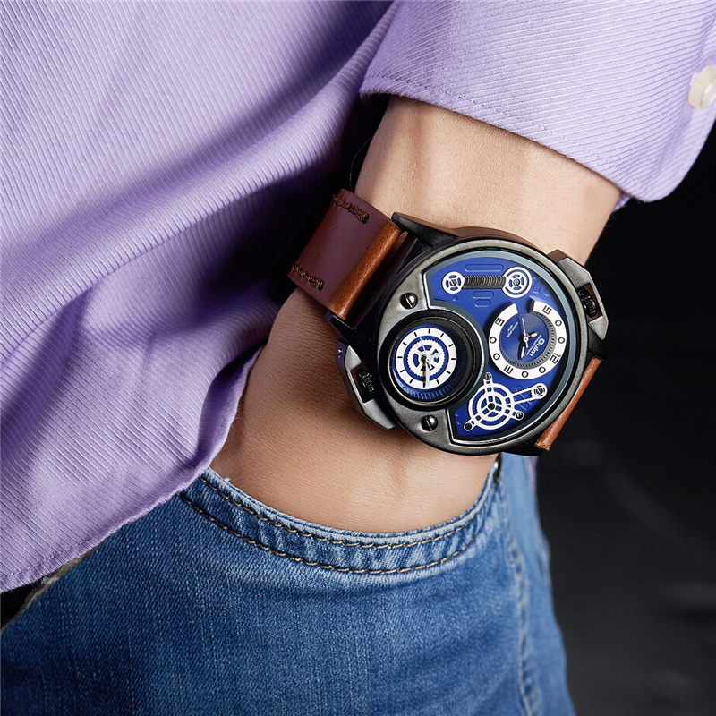 Oulm Luxury Brand Men's Sports Watches New Genuine Leather Wristwatch Two Time Zone Watch Male Quartz Clock relogio masculino tearoke oulm men wristwatch quartz watch genuine leather dual time zone male military sports clock compass thermometer big dial