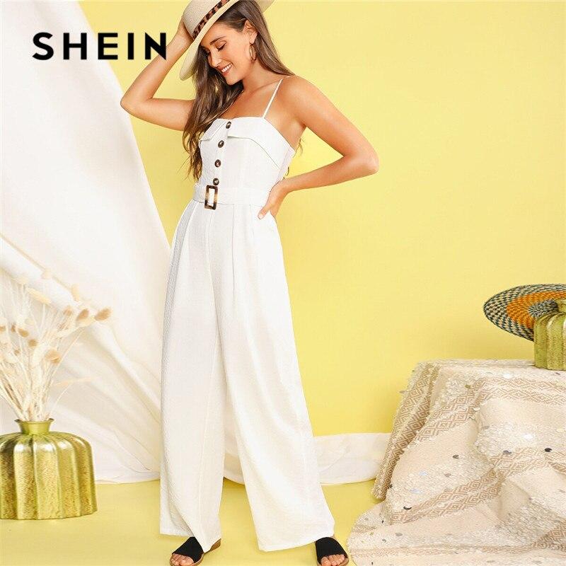 SHEIN Button Front Belted Wide Leg Jumpsuit Women Boho Sleeveless Spaghetti Strap Summer Jumpsuit Solid Mid Waist White Jumpsuit