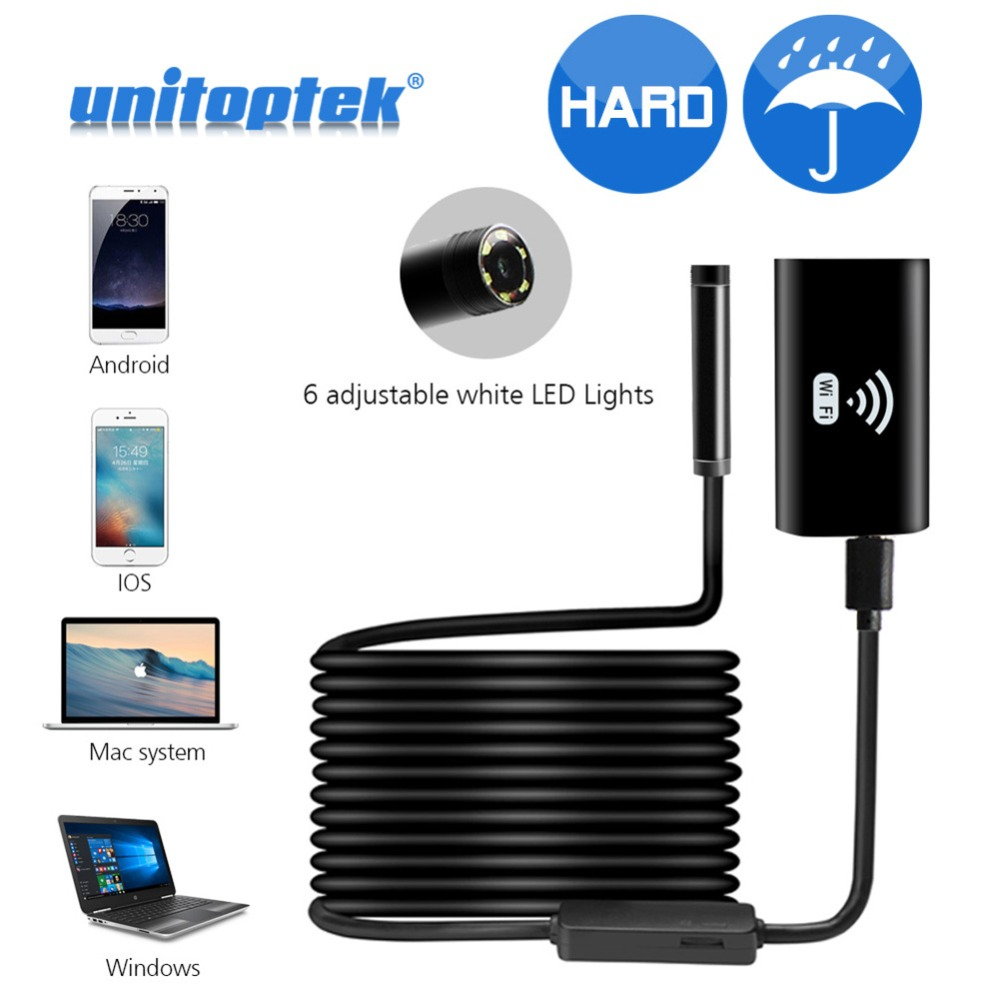 2M 5M Hard Flexible Snake WIFI Android Endoscope Camera HD 720P 8mm 2MP IPhone Wireless Borescope Pipe Inspection Camera Wi-Fi