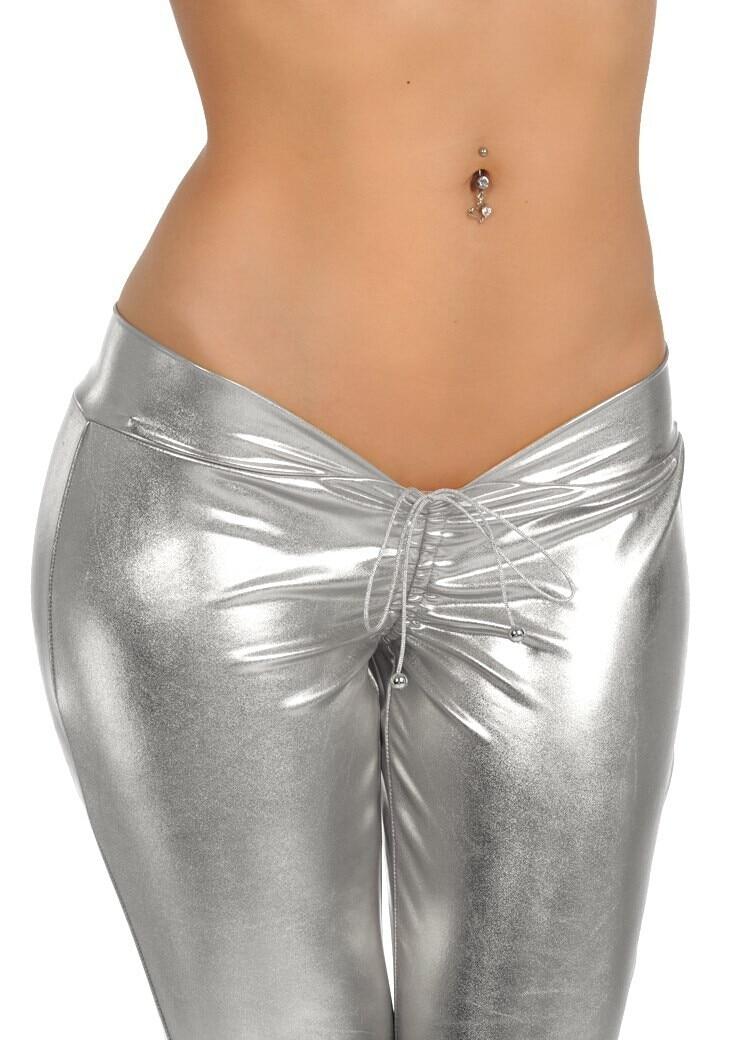 Hipster Metallic Silver Golden Pants Sexy Women Party Shiny Low Rise Pants Capri Skinny Pants Trousers Gothic Punk
