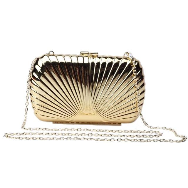 2017 Gold Silver Metallic Evening Bag Women Shell Shape Day Clutch Shinny Fashion Night Club Party Purse Handbags 0118A