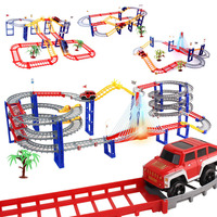 Multi type Track Railway Magical Racing Track Play Set DIY Bend Luminous Race Track Electronic Flash Light Car Toys for Children