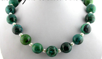 FREE SHIPPING>>>@@ > N2591 Palmary 16mm nature round malachite white pearl necklace
