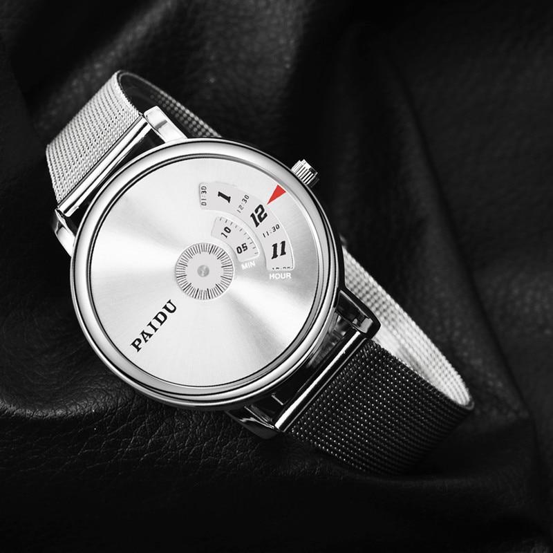 PAIDU Watch Luxury Stainless Steel Turntable Men's Watch Men Watch Fashion Creative Watches Clock reloj hombre erkek kol saati
