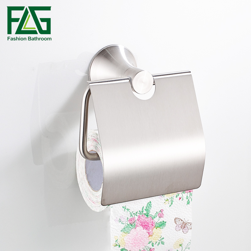 FLG Stainless Steel Brushed Nickel Wall Mount toilet paper roll holder Bathroom Accessories Toilet Paper Holder stainless steel bathroom tissue roller case wall mounted toilet paper holder brushed nickel finish