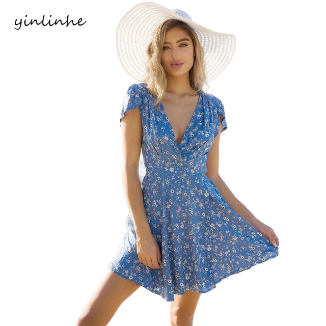 yinlinhe 2018 Wrap Deep V-neck Summer Dress Print Women Beach Dresses Mini Short Sleeve Sashes Tied Elegant Clothing        064