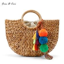 beach bag straw totes bag bucket summer bags with tassels pom pom pompon women natural basket handbag 2017 new high quality