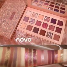 Novo paleta de sombra de olho, paleta de sombra matte com glitter, 18 cores, metálica, natural, para maquiagem, cosméticos