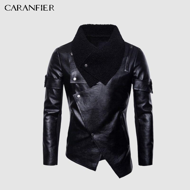 Caranfier mens leather jackets 가을 오토바이 폭격기 캐주얼 펑크 아우터 솔리드 슬림 피트 개성 불규칙한 pu 블랙 코트-에서인조 가죽 코트부터 남성 의류 의  그룹 1