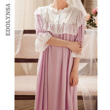 Victorian Nightgowns Sleepshirts Autumn Women Vintage Sleepwear Purple Lace Cotton Home Wear Sleeping Dress Night Clothes T284