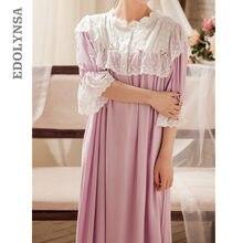 Victorian Nightgownsผู้หญิงฤดูใบไม้ร่วงVINTAGEชุดนอนลูกไม้สีม่วงผ้าฝ้ายสวมใส่Sleeping Nightเสื้อผ้าT284