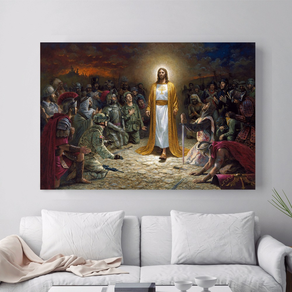 pictures of living room wall decor jesus rescue world canvas print painting poster 26523