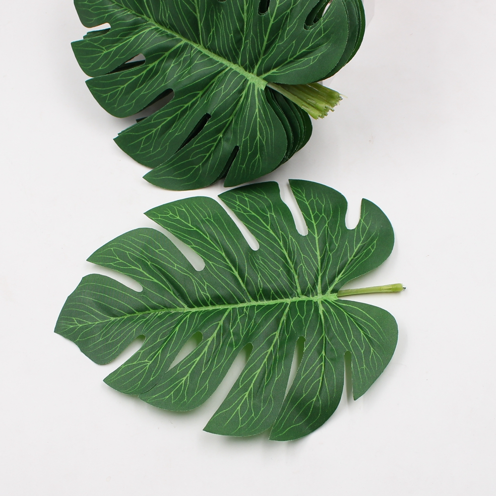 5pcs Lot Big Monstera Deliciosa Green Leaves Artificial Leaf Silk Flower Plants Home Garden