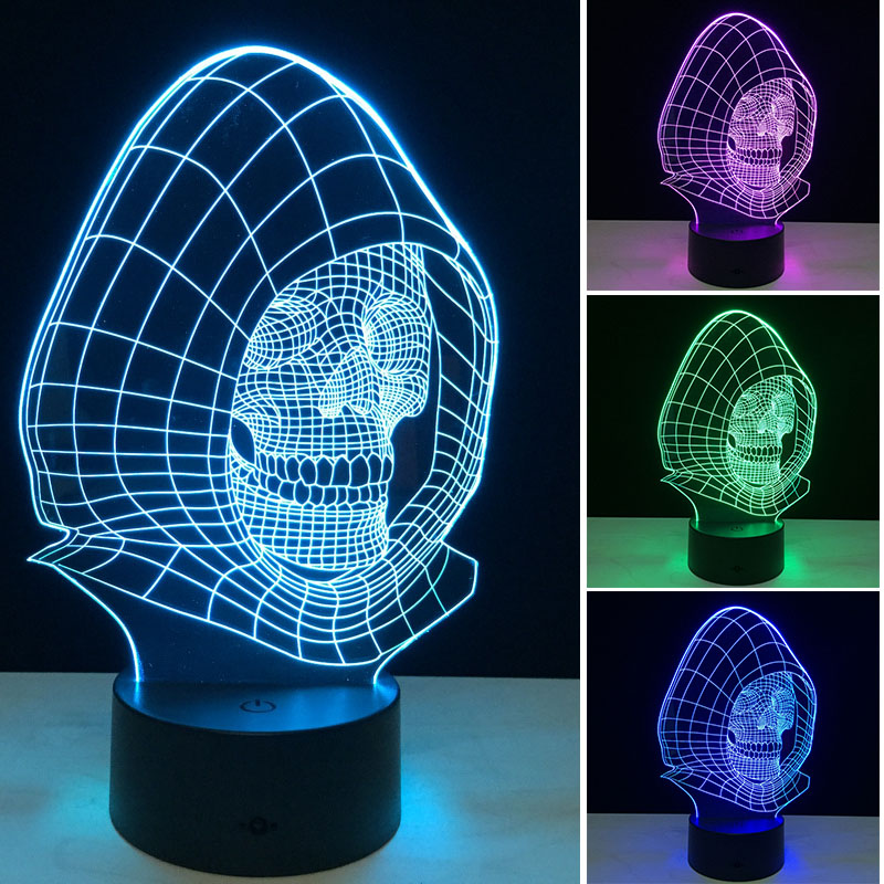 3D Night Lights 7 Color Changing Skull USB Optical Illusion Home Decor LED Table Lamp Gradient