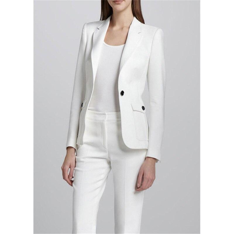 White Female Office Uniform Elegant Pant Suits 2 Piece