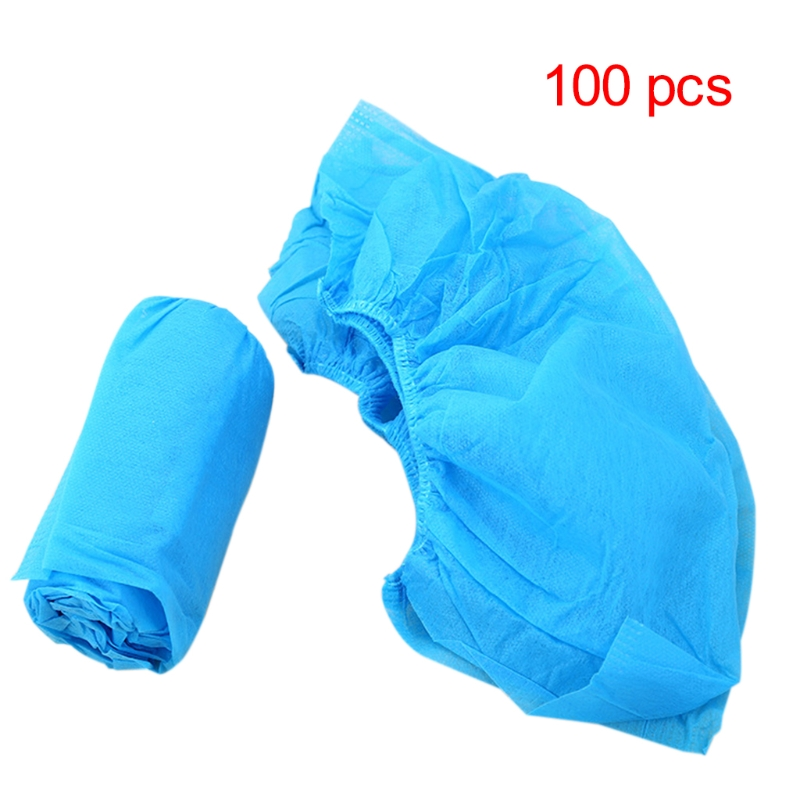 THINKTHENDO 100Pcs Boot Shoes Covers Fabric Disposable Overshoes Medical Indoor Carpet Floor Blue Non-woven Fabric Shoe Cover
