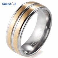 SHARDON 8mm Düğün takı erkek ile Kubbeli Titanyum Halka oluk ile Mat Bİtmİş Düğün band Nişan Yüzüğü