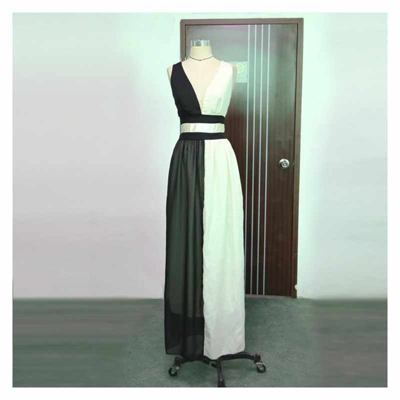 a488833660 ... 2019 Summer Women Elegant Contrast Color Backless Maxi Dress Sexy V-Neck  Sleeveless Patchwork High
