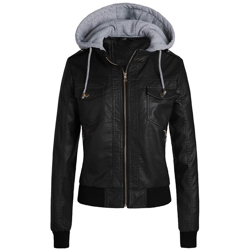 Winter PU Sheath Hooded   Jacket   Women Casual   Basic   Coats Ladies   Basic     Jackets   Waterproof Windproof Coats Female