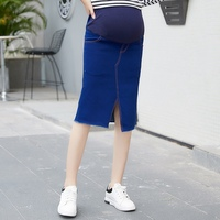 2019 new fashion Korean version of the stretch denim maternity skirt stomach lift skirt denim skirt