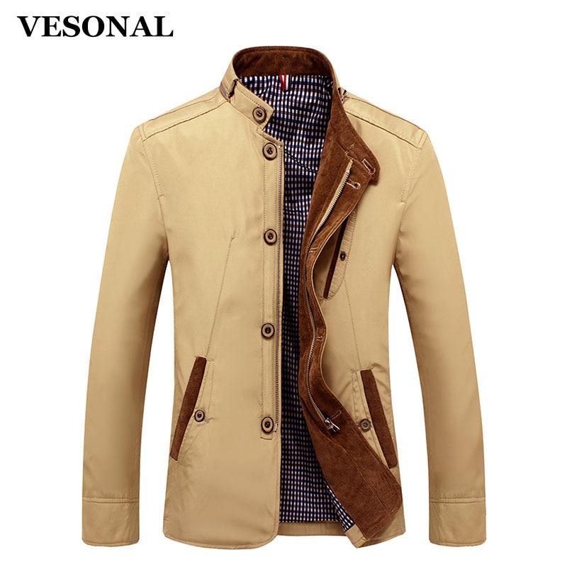 VESONAL Spring Autumn Polyester <font><b>Slim</b></font> Fit Thin Stand Button Male Casual Jacket <font><b>Men</b></font> Short Windbreaker Jackets Coat Blue Khaki 4XL