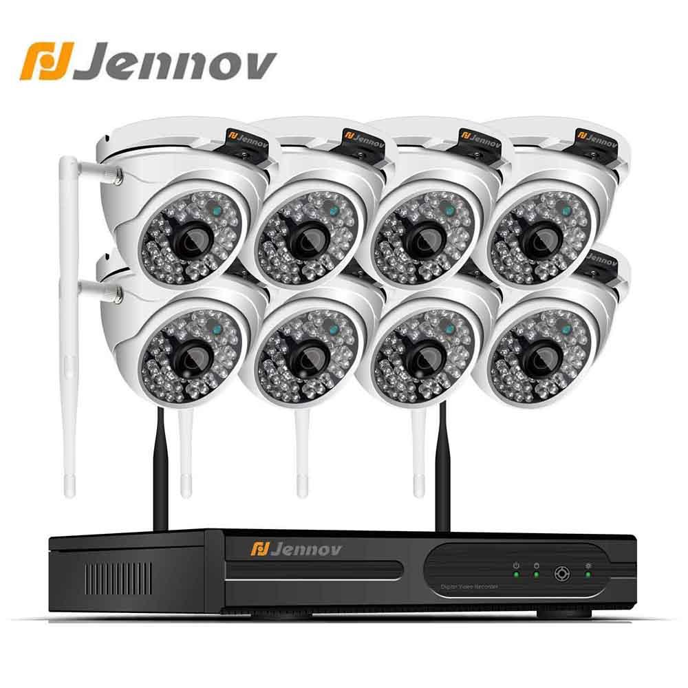 Jennov-système de Surveillance vidéo NVR sans fil, 8CH, avec caméra vidéo NVR sans fil à l'extérieur, 1080 P, caméras IP WIFI, IP66, vidéosurveillance domestique