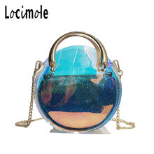 Locimole Holographic Women Handbag Waterproof PVC Clear Transparent Purse  Round Shoulder Bag Summer Beach Bag BIW213 PM49 3627457a30911
