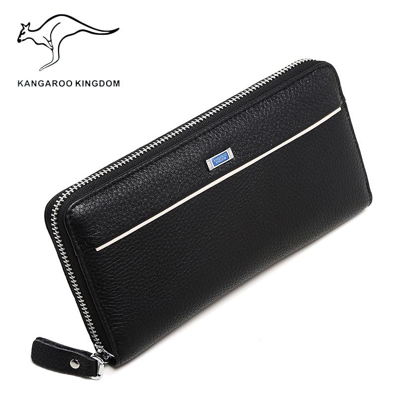 ФОТО Kangaroo Kingdom Men Wallets Genuine Leather Long Wallet Male Clutch Bags Brand Purse